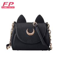 Kawaii Black Sailor Moon Luna Artemis Shoulder Bag Ladies Luna Cat Leather Handbag Women Messenger Crossbody