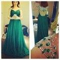 Verde esmeralda vestidos noche con cristales sari indio manga del casquillo rebordeó Prom vestidos 2015 Vestido Indiano
