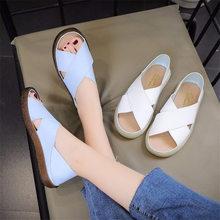 summmer Women Shoes Artificial PU Slippers Ladies Sandal Woman Peep Toe Leather Beach Flat Casual Sandalias NVX18