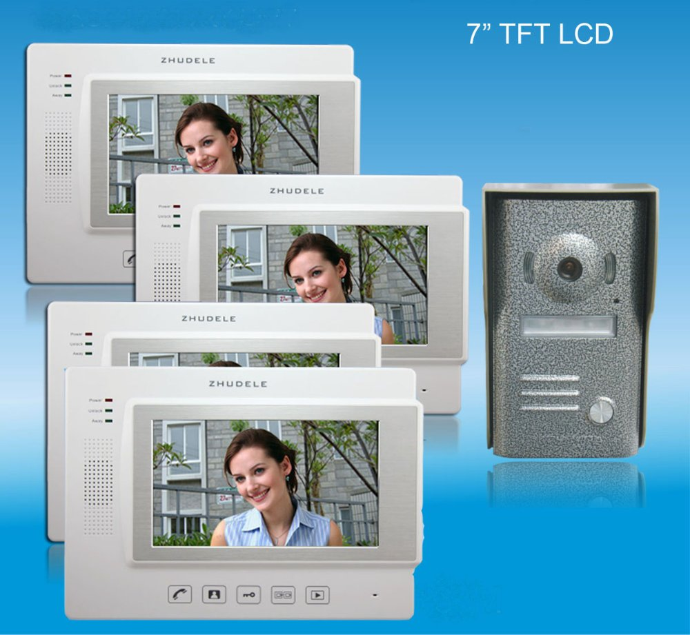ZHUDELE Home security intercom 7 luxury color video door phone,CCD camera ,touch screen with SD CARD, unlocked phone (1 to 4)