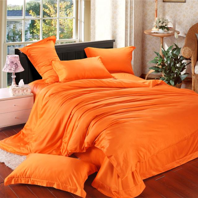 Orange Solid Luxury Comforter Bedding Set King Size Queen