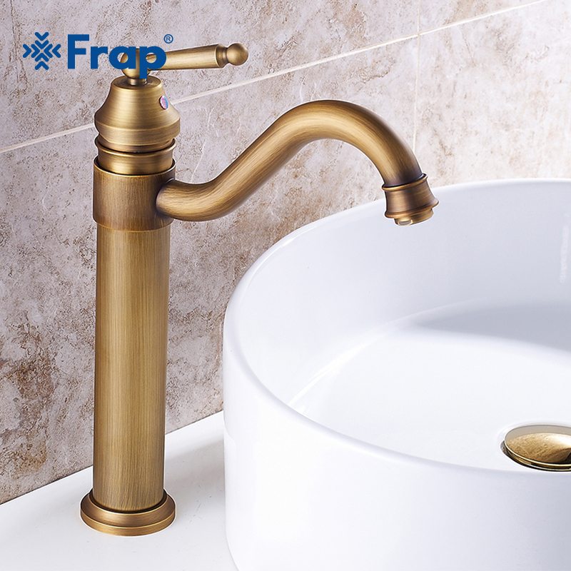 цена на FRAP Bathroom Faucet Copper Antique Faucet Mixer Faucet Basin Hot and Cold Water Tap Single Handle Single Hole WC Faucet Y10064
