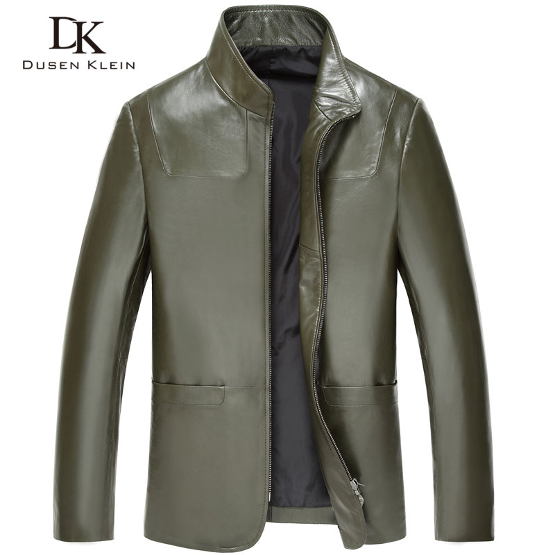 Plus size 5XL Men Sheepskin leather jackets Dusen Klein New Genuine Leather Simple Business style Green leather coats 15Z6610