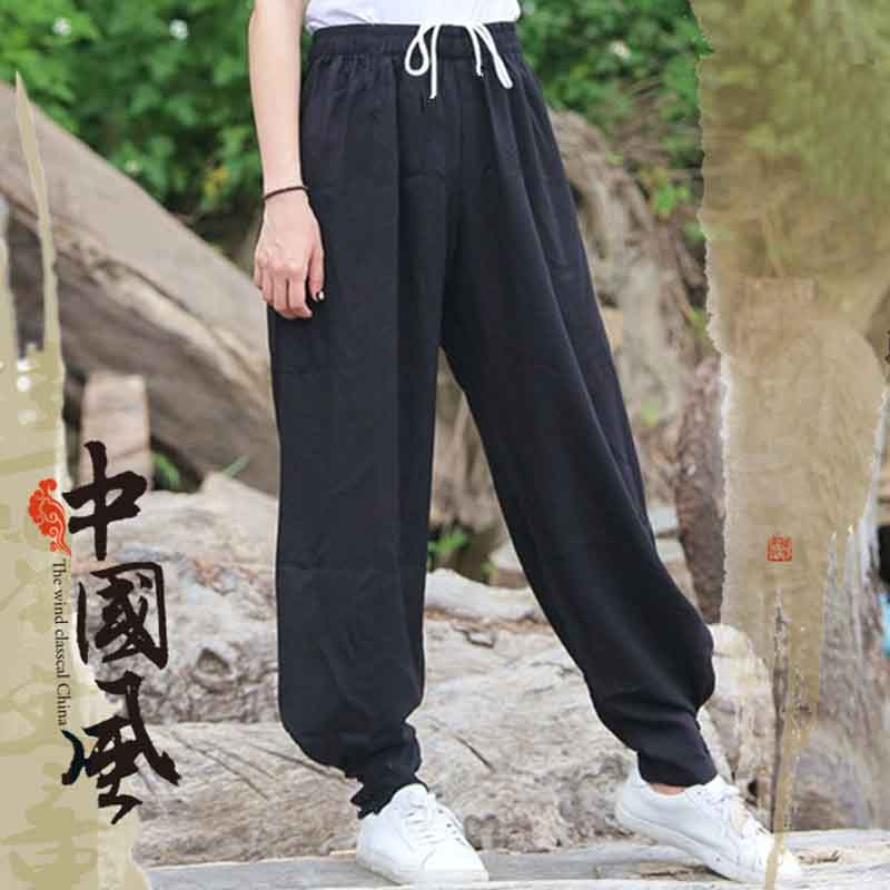 Tai Chi Pants Men Tai Chi Trousers Exercise Thickening Autumn Winter Morning Suit Cotton Pants Baggy Pants Martial Arts Bloomers