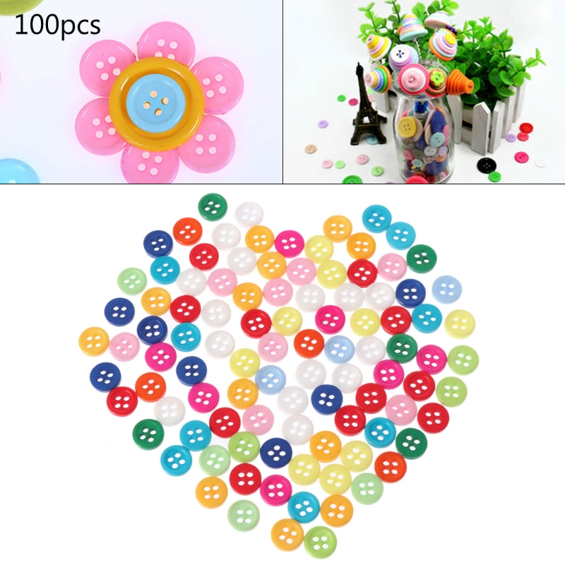 100Pcs 4 Holes Mixed Color Round Resin Buttons Fit For Sewing And Scrapbook 9mm Dec17