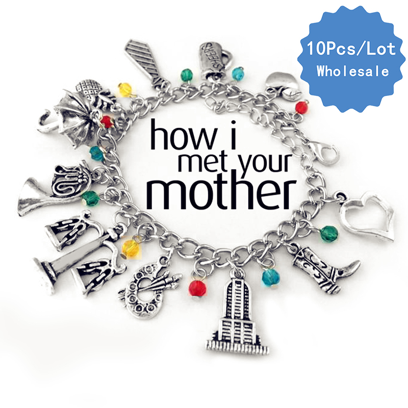 10 Pcs a Lot How I Met Your Mother Bracelet Trumpet Lamp Umbrella French Horn Chain Lins Wristlets Anklets Wristbands Christmas