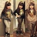 2015 moda bebê meninas roupas estabelecidos crianças crianças se adapte tigre dos desenhos animados T shirt + calças de leopardo camisa de manga comprida