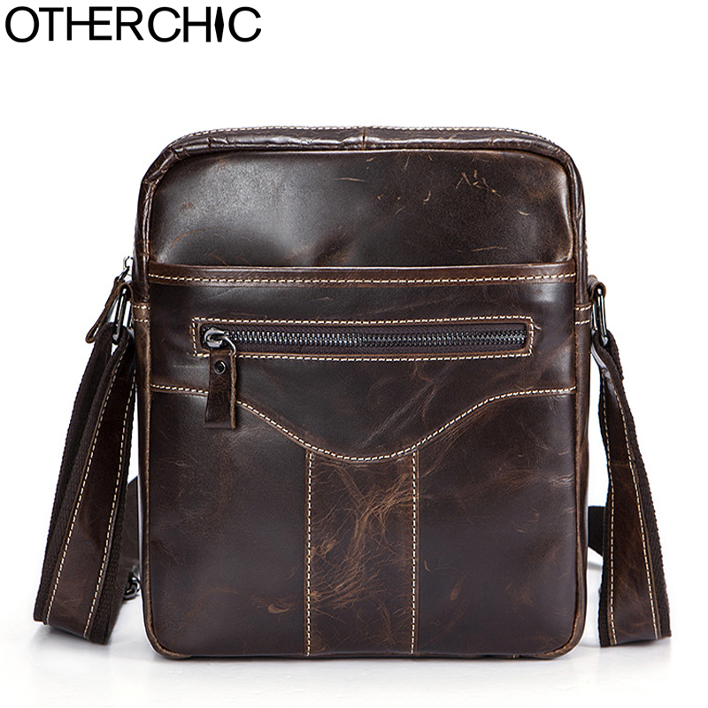 OTHERCHIC Genuine Leather Bags Men High Quality Messenger Bags Small Travel Bag Vintage Crossbody Shoulder Bag For Men 7N04-37 yiang 2018 genuine leather bags men high quality messenger bags small travel crossbody shoulder bag small phone pouch for men