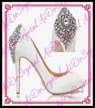 Aidocrystal Elegante Weiße Elfenbein Diamant Absatzhochzeitsschuhe offene spitze Schuhe 5,5 zoll
