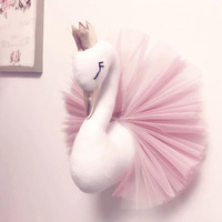 Golden Crown Swan Wall Hanging Decorations Kids Room Wall Decor Lovely Pink White Soft Swan Decor for Baby Bed Room Photo Props