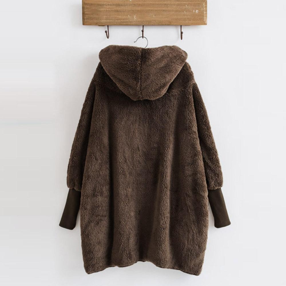 Women Hooded Coat Winter Warm Plush Pockets Cotton Coat Outwear Casual Hoodies Jacket Overcoat Top female outerwear 7