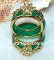 2PCS Hand Carvings Green Jade Ring