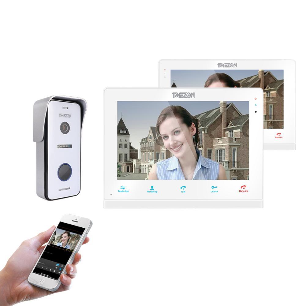 Système d'interphone vidéo TMEZON sans fil/Wifi intelligent IP sonnette, moniteur d'écran de 10 pouces + 7 pouces avec 1x720 P caméra téléphonique filaire