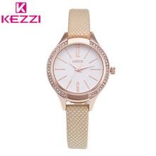 K-1348 KEZZI Marca Moda Mujeres Reloj de pulsera de Cuero de Las Señoras de Lujo de Oro Rosa Reloj de Cuarzo Relogio Feminino Regalo KZ32