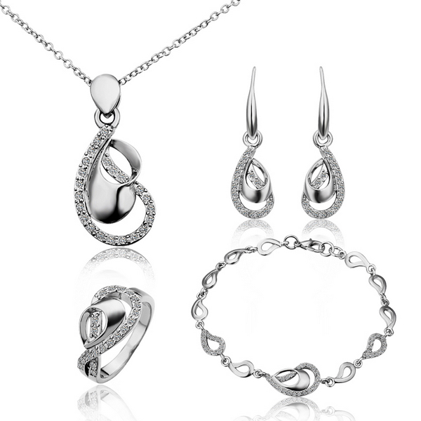 5644b759e52e Fashion Crystal Earing Ring Necklace Bracelet Free Mixed Styles Gold Plated  Jewelry Set en Sistemas de la joyería de Joyería y accesorios en  AliExpress.com ...