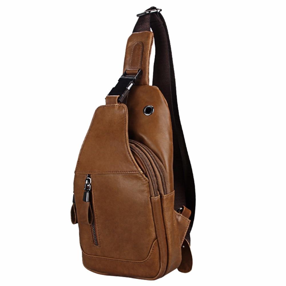 Etaofun brand Genuine Leather Crossbody Bags men messenger Small Designer Shoulder Bag Chest Bags Day Pack Travel Vintage back цена и фото
