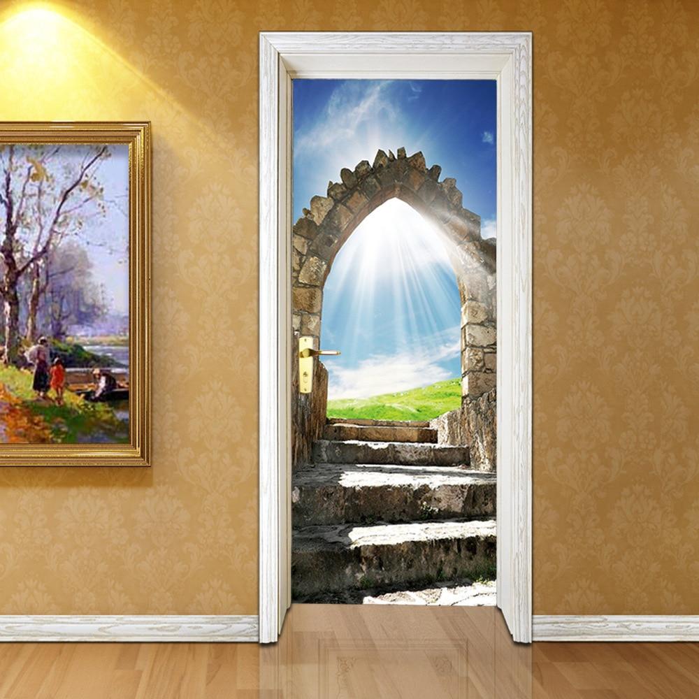 3D Landscape Poster PVC Waterproof Entire Door Sticker Creative Stickers Door Wall Sticker DIY Mural Bedroom Home Decor