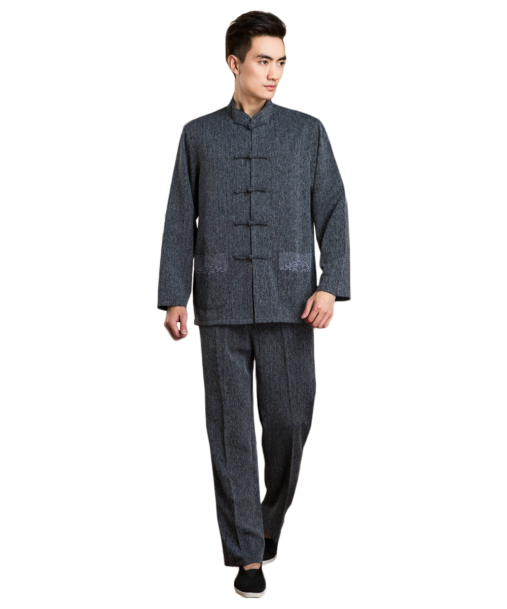 Traditional Chinese Clothing Cotton Long-sleeve Pockets Tang Suit Kung Fu Weshuwear Suits