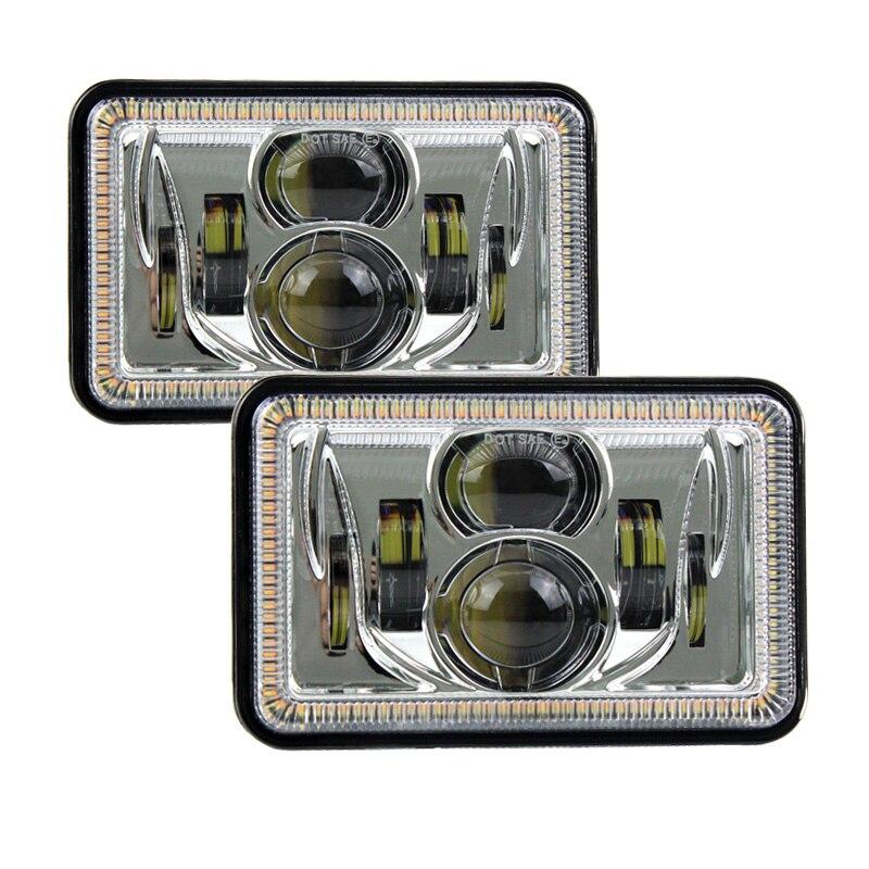 """""""Хром 2шт 4""""""""х6"""""""" 55 Вт прямоугольник из светодиодов фар Привет-Ло луча уплотнения DRL и включите сигнал высокого уровня регулировки мощности лампы для Большегруз"""""""