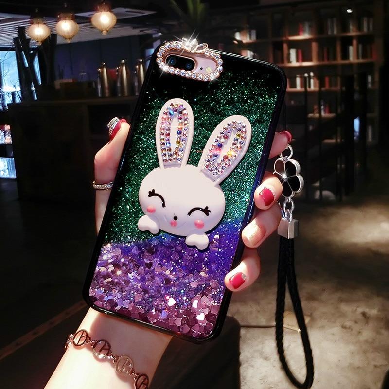 Алмазный чехол кролик Крышка корпуса ля Iphone X жидкость мобильный чехол для телефона для Iphone 5 6 7 8 10 кронштейн, чехол для телефона capa