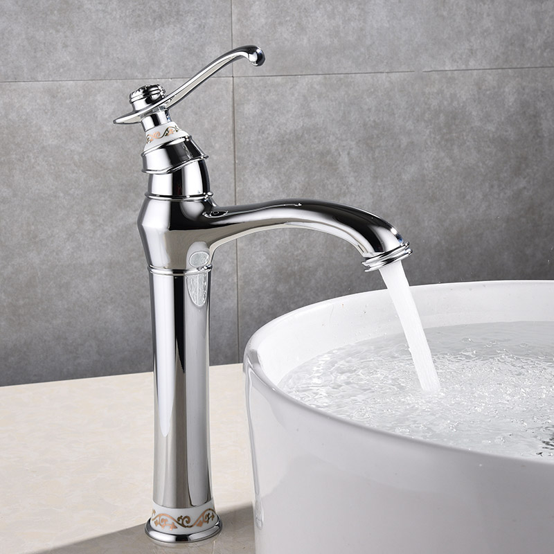 Tall Basin Faucets Euro Luxury chrome Jade Deck Bathroom Sink Faucet Single Handle Bath Vanity taps Mixer brass made