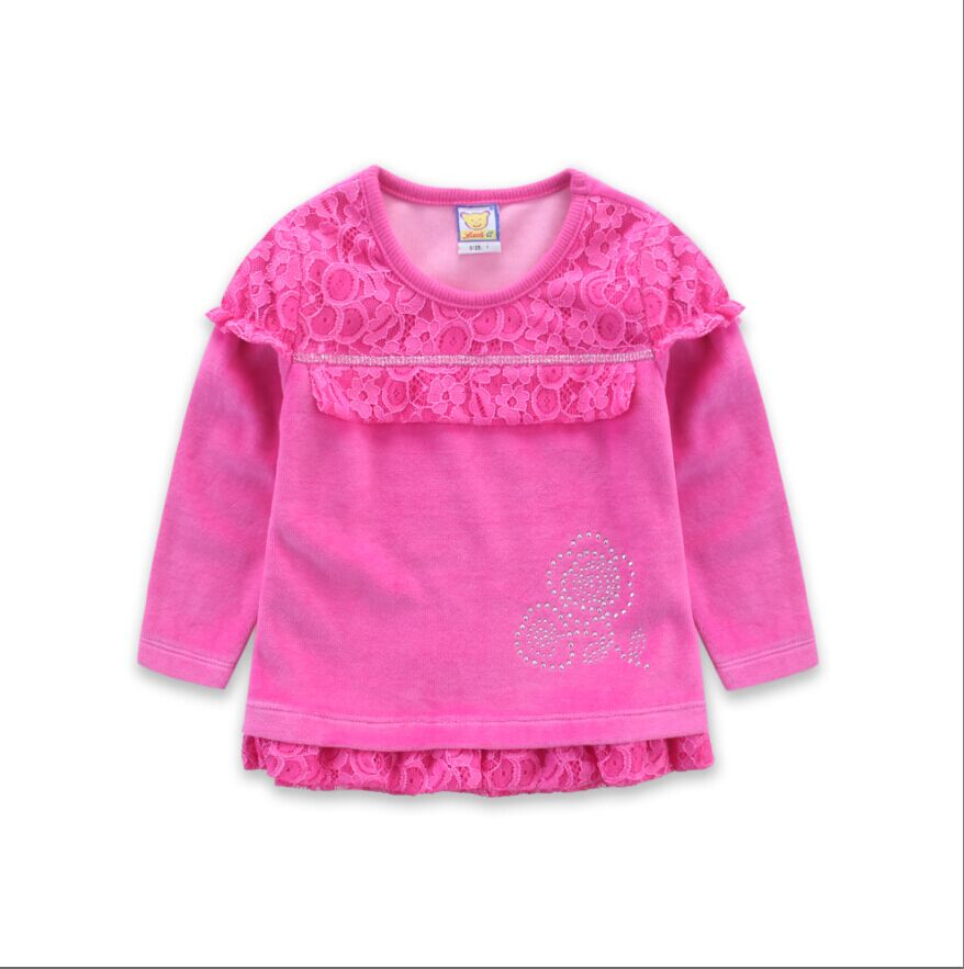 2019 new style velour <font><b>baby</b></font> girl <font><b>basic</b></font> blouse fashion spring <font><b>shirt</b></font> lace long sleeve T-<font><b>shirt</b></font> children sweet party clothes image