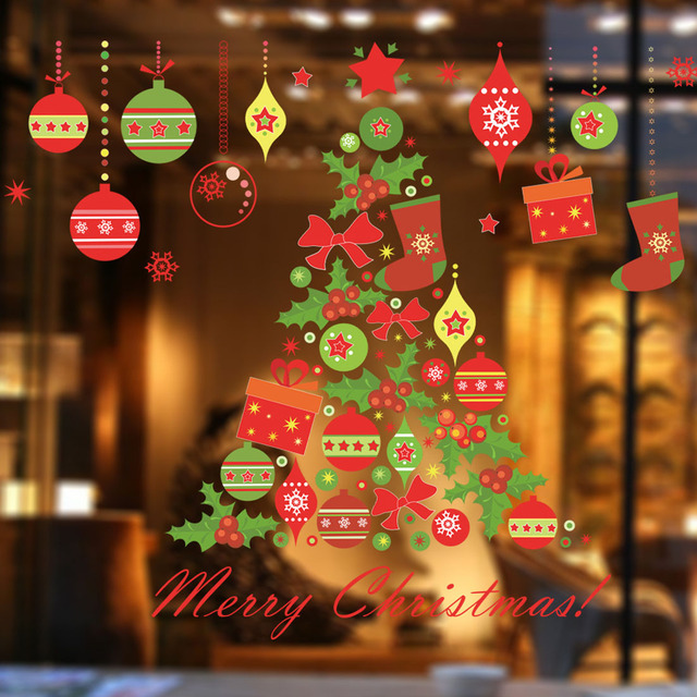 office decor for christmas. newest christmas tree gift wall sticker decals window party store office decoration new year home decor for h
