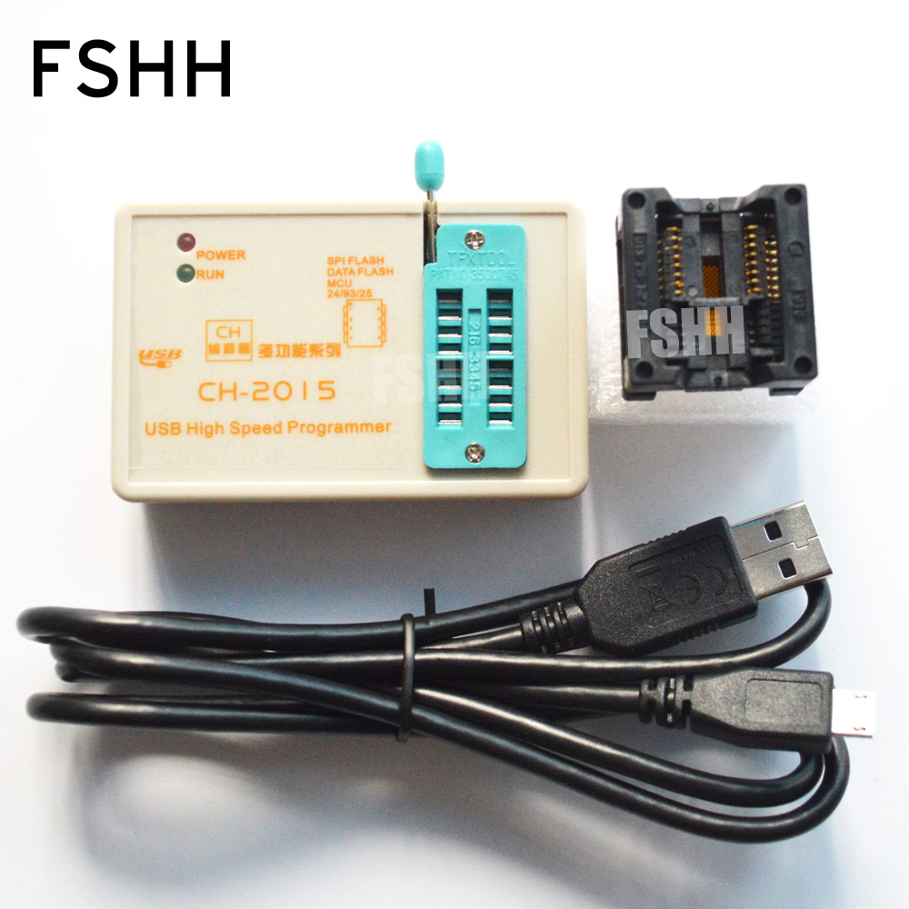 Program CH2015 High-speed Programmer+300mil SOP16 To DIP8 Adapter  24 25 93eeprom Spi Flash Avr Mcu USB  Programmer