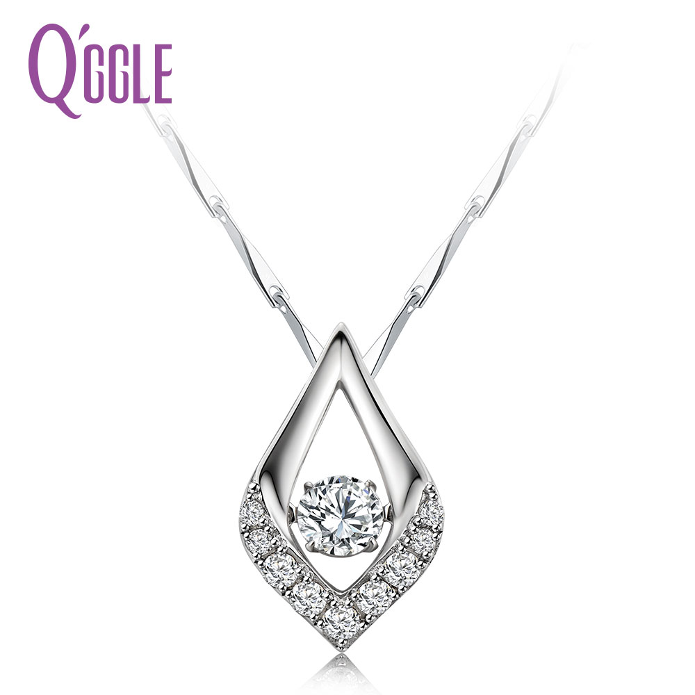 QGGLE S925 Sterling Silver Austrian Zircon Necklace & Pendant for Women Geometric Pendant Necklace Jewelry graceful rhinestone geometric bullet necklace for women