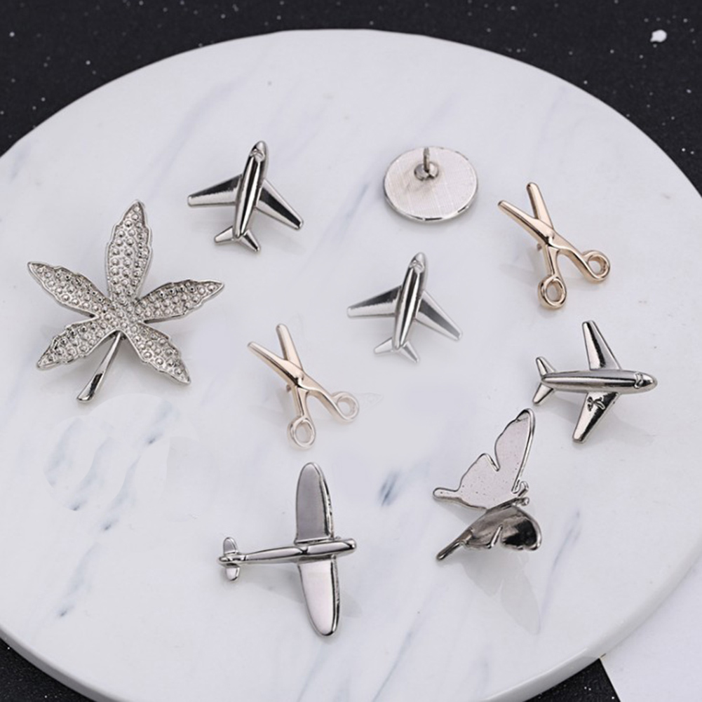 Vintage Simple Alloy DIY Leaf Plane Brooch Breastpin Gold Silver Men's Collar Lapel Pins Suit Accessories Jewelry For Women Gift 1