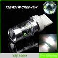 Os Recém-chegados W21W CREE chip 45 W LED Traseira Luzes Traseiras com Espelho Refletor, Parada T20 Luz 7440 Luzes de Freio Do Carro Lâmpada Reversa