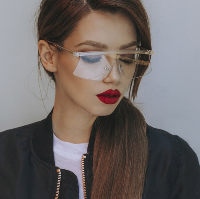 00de15f7d28d Detail Feedback Questions about 2018 candies Semi Rimless Women's Sunglasses  One Piece Lens Oversized Shield Flat Top Sun glasses For Female Optical Eye  ...