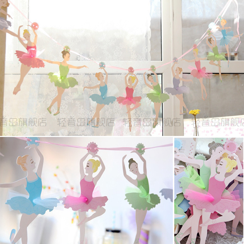 aliexpresscom buy ballet girl wedding handmade paper flags bunting banner for kids birthday party decoration wedding party supplies from reliable banners - Party Decoration Stores