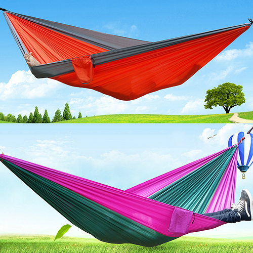 Portable Outdoor Traveling Camping Parachute Nylon Fabric Sleeping Bed Hammock portable outdoor leisure traveling camping parachute nylon fabric parachute hammock for two person 12 colors high quality