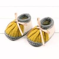 Infant Toddler Girls Walker Cuna Botas Primavera Tejer Patrón Bebé Recién Nacido Niños Otoño Invierno Niños Zapatos de Suela Blanda Primeros Caminante