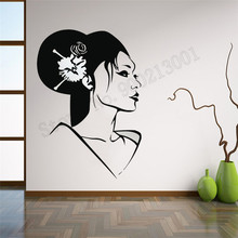 Beauty Salon Wall Sticker Japanese Oriental Girl Geisha Room Decoration Art Vinyl Removeable Poster Mural Modern Ornament LY775
