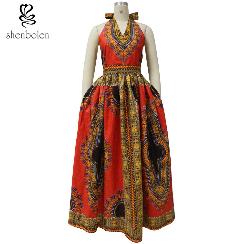 2018 Αφρικανικά Φορέματα για τις γυναίκες Dashiki Wax Batik Εκτύπωση Αμάνικο Sexy V λαιμό Halter