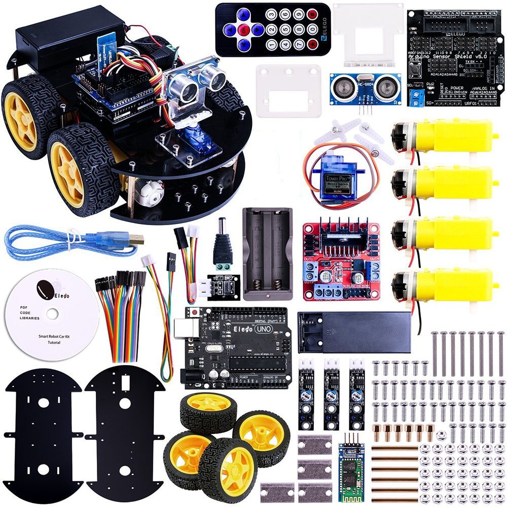 UNO Project Smart Robot Car Kit For Arduino UNO R3,Ultrasonic Sensor, Bluetooth module,ect Educational Toy Car With CD