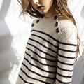 Botões Marca Runway Outono Inverno das mulheres Camisola de Lã de Moda de Alta Qualidade de malha Grossa Curta Listrada Pullovers Jumper