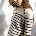 Women's Fall Winter Brand Runway Buttons Sweater Fashion High Quality Wool knitted Thick Striped Short Pullovers Jumper