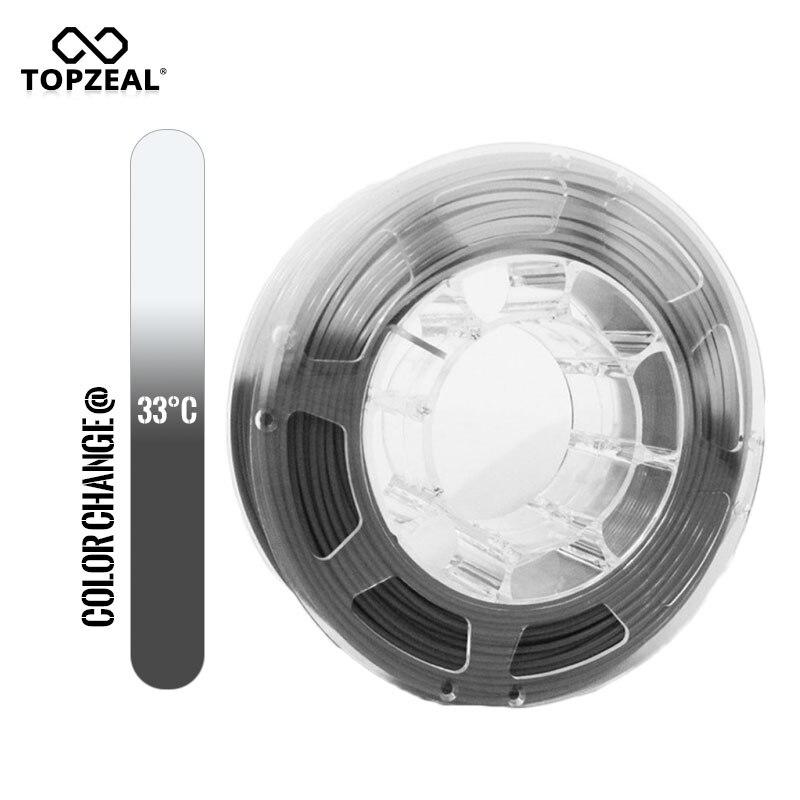 topzeal 3d pla impressora de filamento cor mudanca de temperatura 1 kg spool 1 75mm cinza