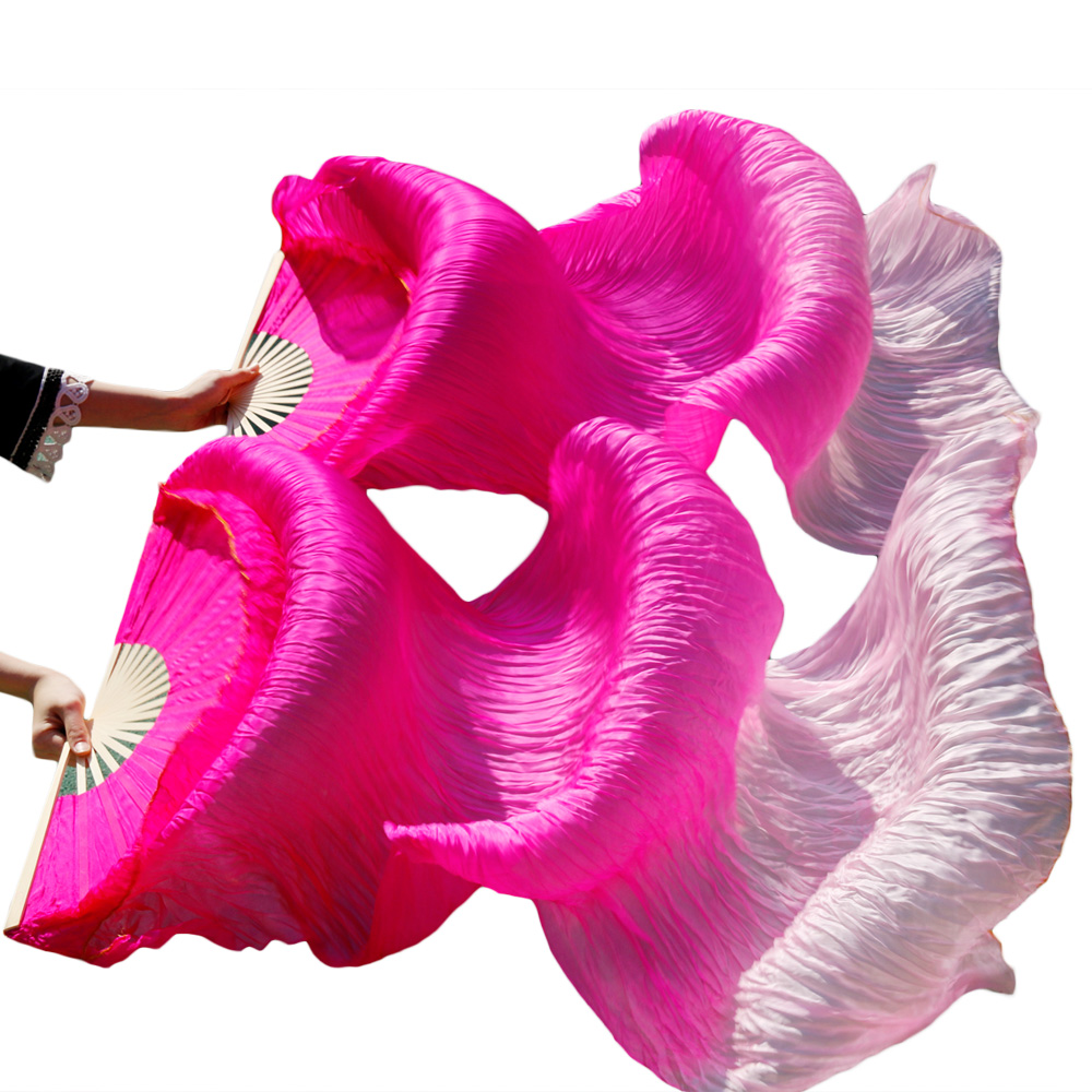 New Arrival Women Costume Bamboo Long Silk Fans Veils Silk Fan Handmade Colorful Belly Dance Fan rose+light rose+pink