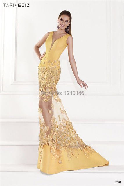2015 Latest Tarik Ediz V Neck Sleeveless Yellow Sheer Long Mermaid