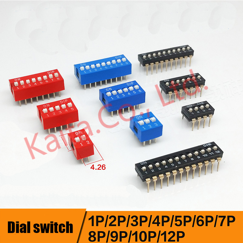 10pcs/lots Direct dial code switch DIP switch DP-1P/2P/3P/4P/5P/6P/7P/8P/9P/10P/12P 2.54MM DS pitch Side 34um95c p