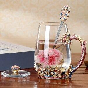 Image 4 - Tazze da caffè in vetro smaltato colorato tazze da tè in stile europeo bicchieri creativi per acqua di fiori