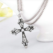 New Simple Crosses Religious Retro Vintage Cross Necklace Women Crystal Long Necklaces Pendant Jewelry Collares Largos Christian(China)
