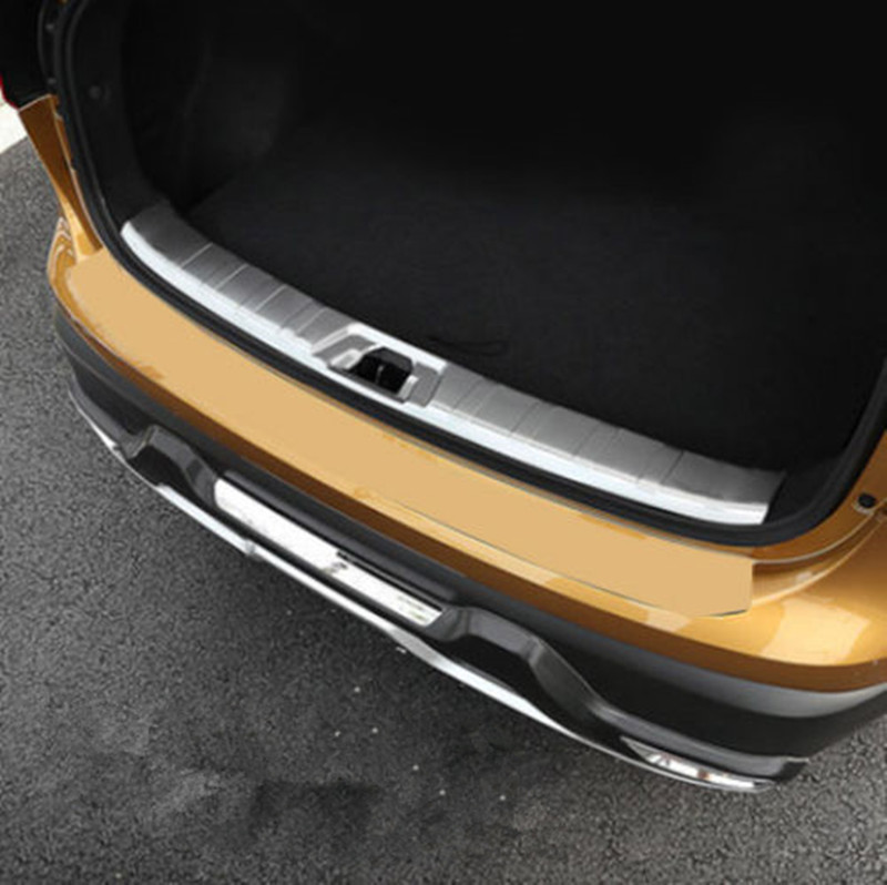 BBQ@FUKA FIT FOR NISSAN QASHQAI J11 Car INNER REAR Trunk BUMPER PROTECTOR BOOT CARGO SILL PLATE LIP Trunk Trim Cover 2pcs set accessories fit for 2015 2016 2017 nissan qashqai j11 rear bumper protector cargo boot sill plate trunk lip