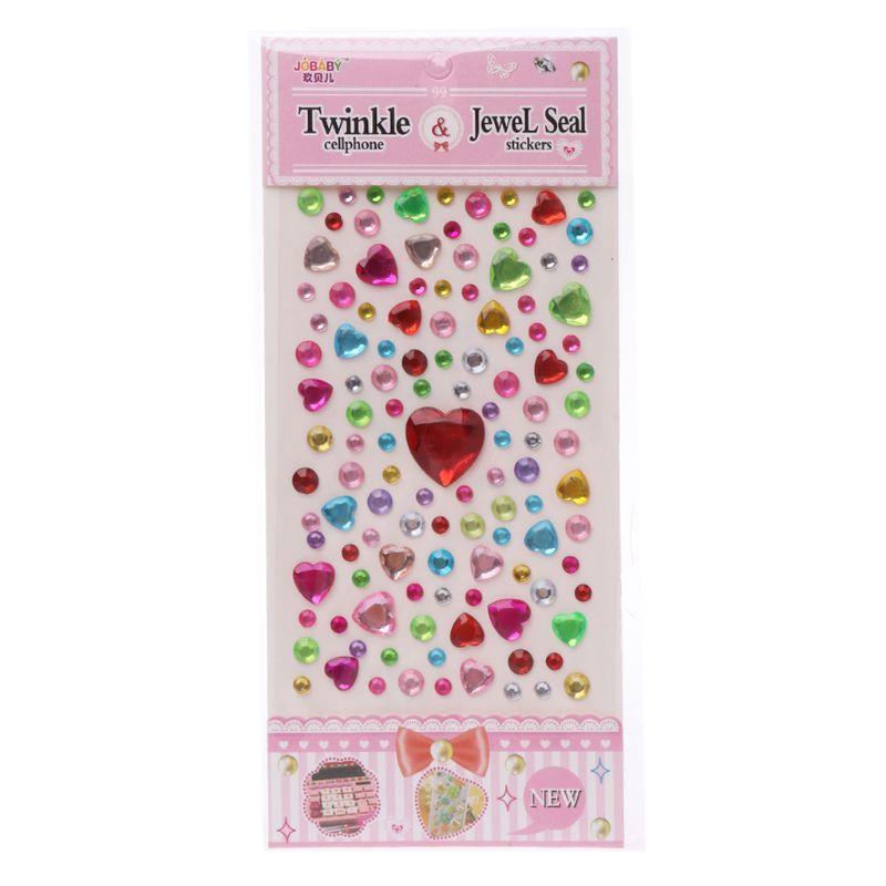 HBB 1 шт. сердце Форма стикер в виде бриллианта, кристалла DIY Наклейка Мобильный Art самоклеющиеся Скрапбукинг Стикеры «s», детская игрушка - Цвет: A