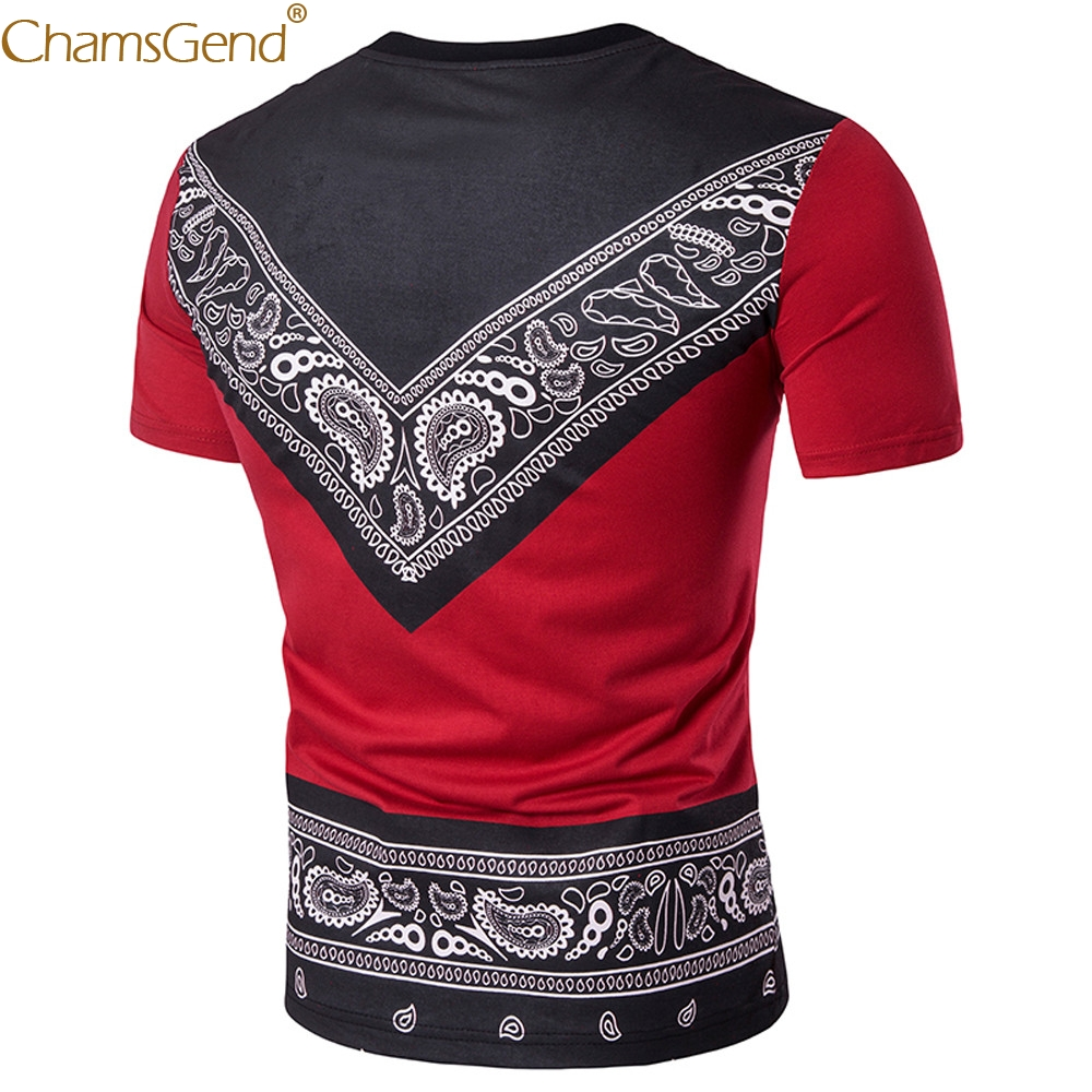 CasualAfrican Print men shirt slim fit short sleeve Cotton Casual Top Tee summer 2019 Print O Neck Pullover Top Blouse Feb14
