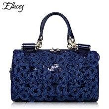 Berühmte Marke Frauen Boston Tasche Klassische Aushöhlen Spitze Split leder Handtasche Luxus Designer Umhängetasche Retro Style Boston Tasche